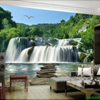 Tranh gạch 3D thác nước giúp đem luồng không khí mát mẻ vào nhà
