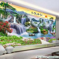 Tranh gạch 5D dán tường giá rẻ mẫu sơn thuỷ