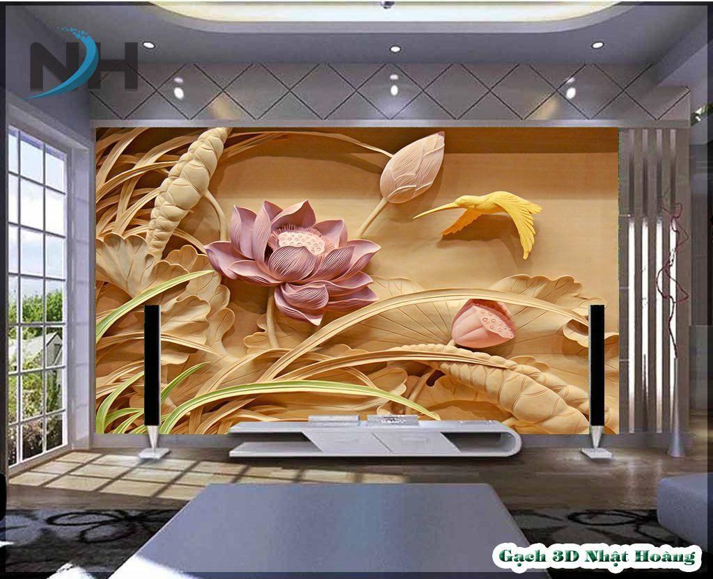 Gạch đá 5D nhà mồ mẫu hoa sen