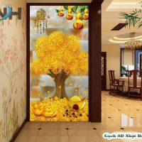 Gạch 3D Mẫu KT04 là mẫu tranh mô tả vẻ đẹp của cây Kim tiền cùng những trái bầu hồ lô