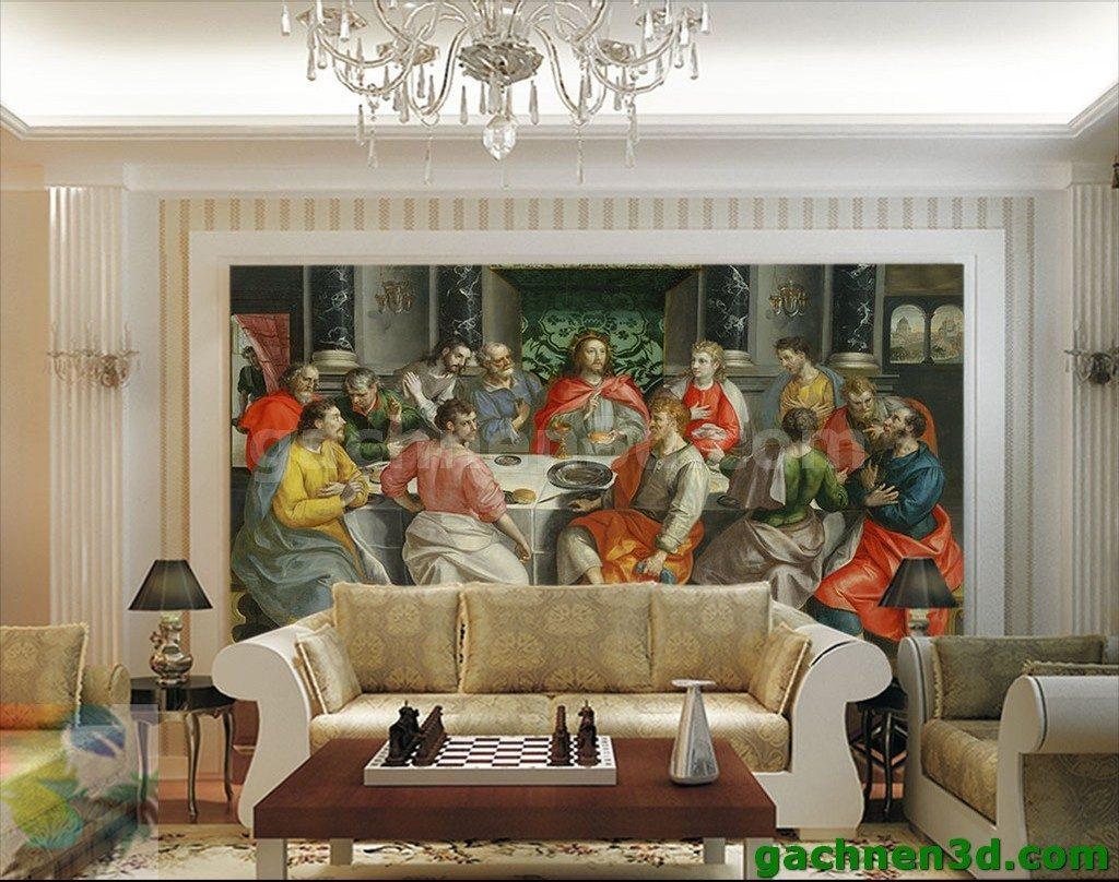 Bức tranh gạch 3D Thiên chúa mẫu 12 thánh tông đồ.