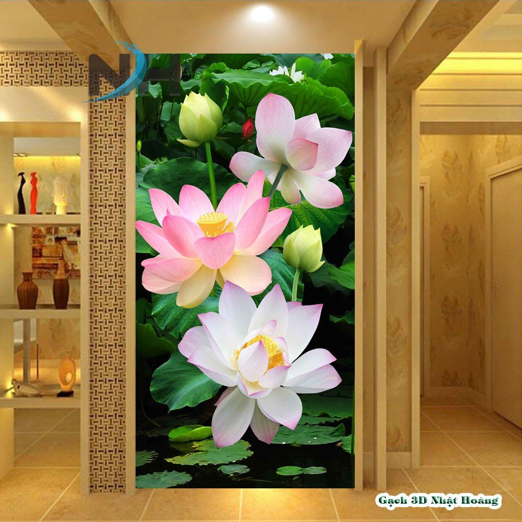 Gạch 5D hoa sen bàn thờ