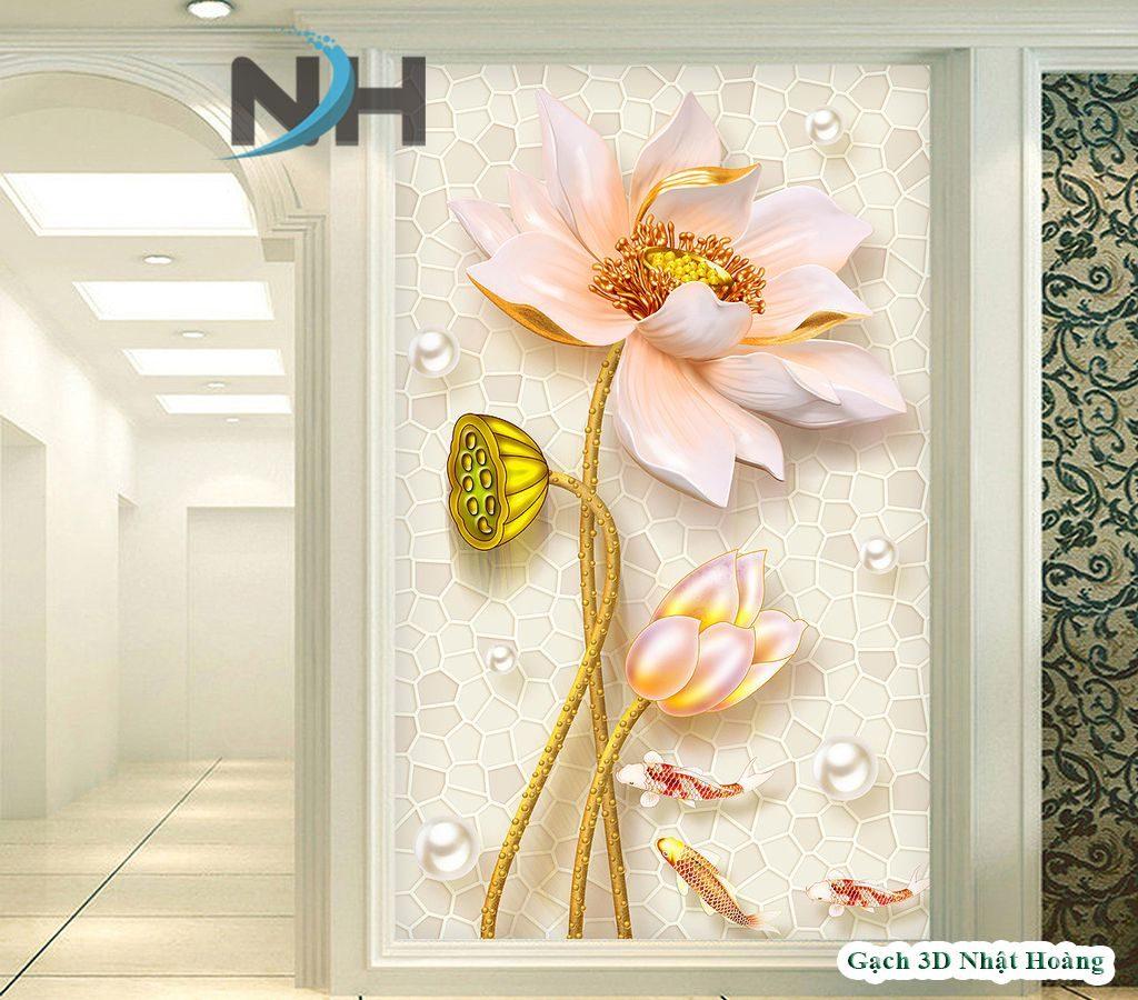 Gạch 5D hoa sen phòng thờ