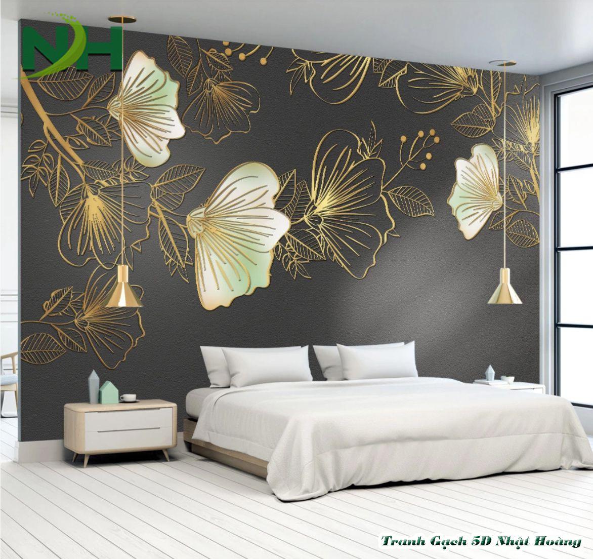 tranh gạch 3D phòng ngủ ốp tường