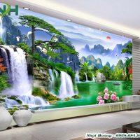 Tranh gạch 5D dán tường sơn thuỷ