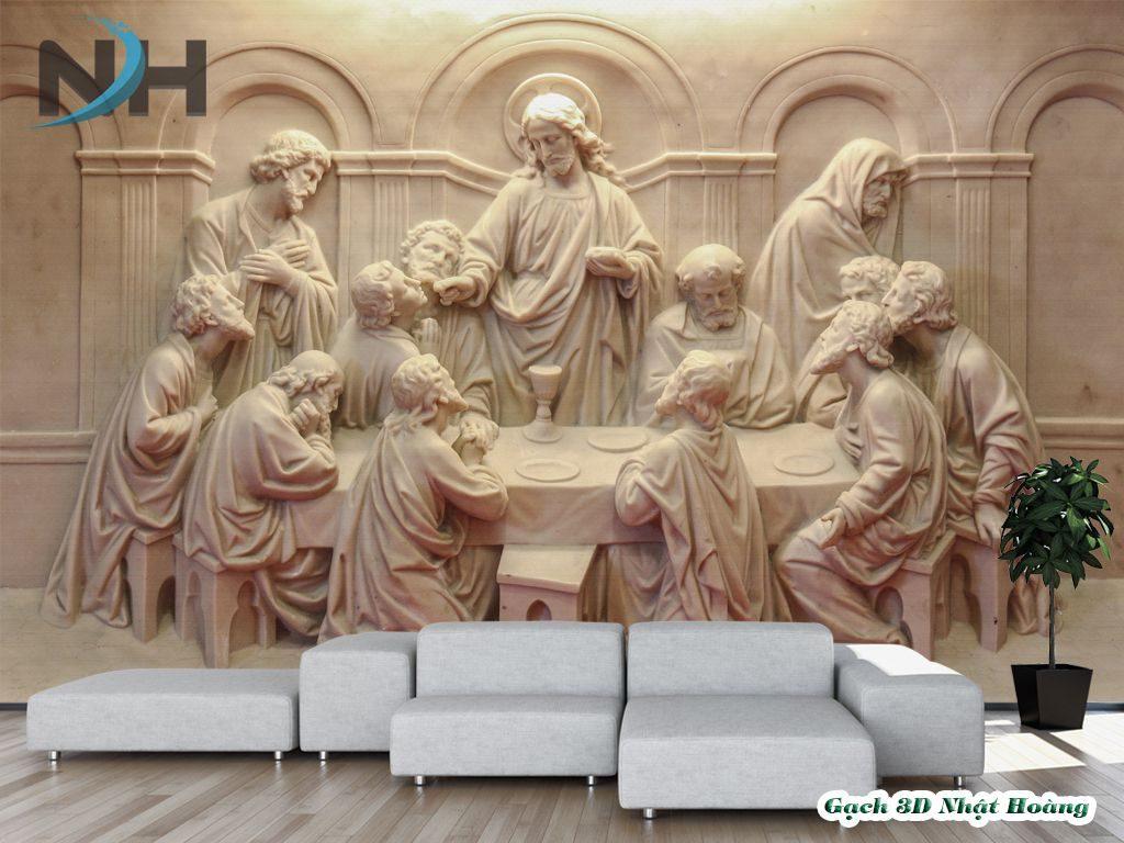 Bức tranh gạch Thiên chúa mẫu 12 thánh tông đồ.
