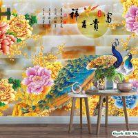 Tranh gạch chim Công trang trí