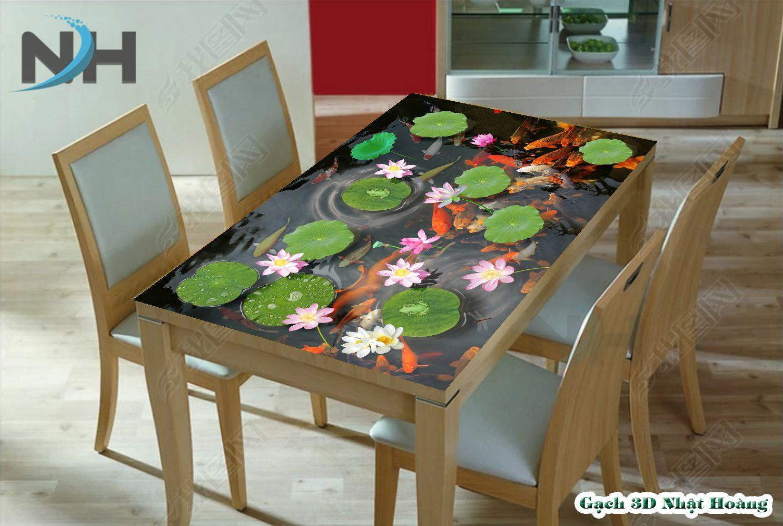 Tranh mặt bàn ăn cá koi