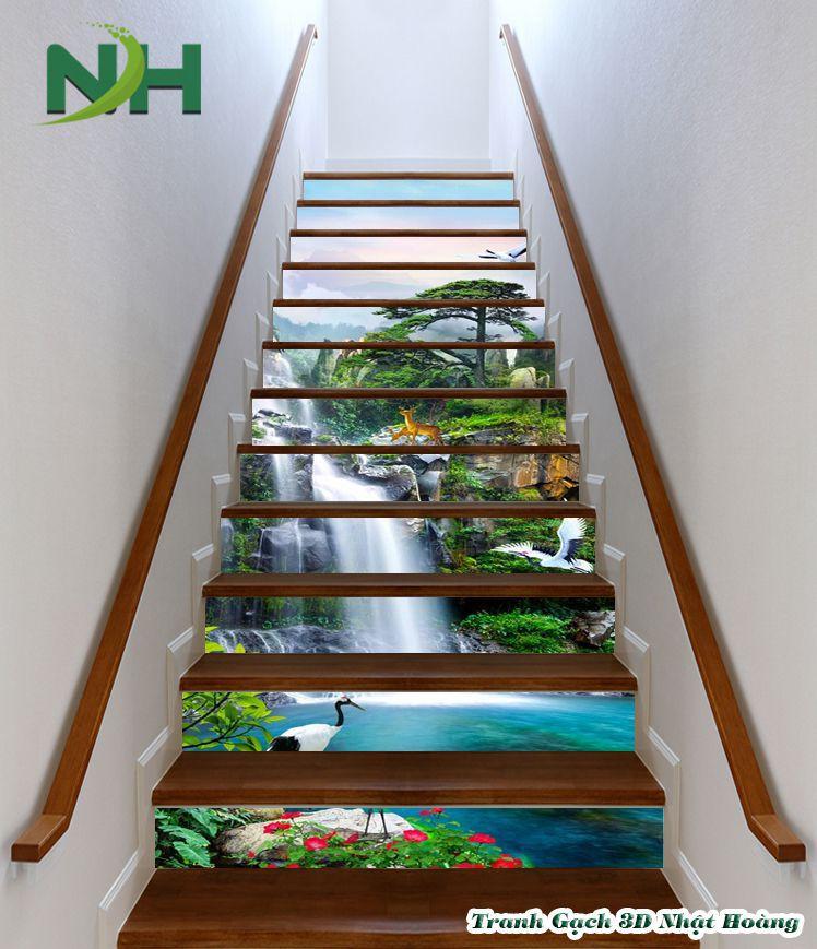 Tranh gạch 3D cầu thang hình ảnh sơn thủy