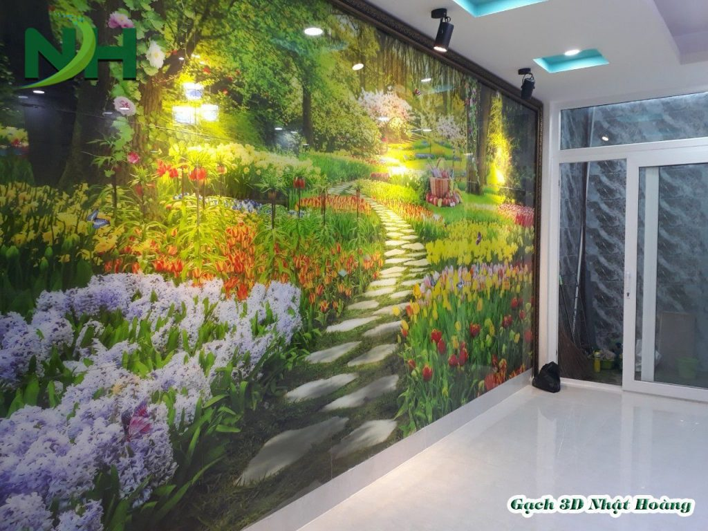 Tranh gạch 3D Nhật Hoàng mẫu phong cảnh phòng bếp