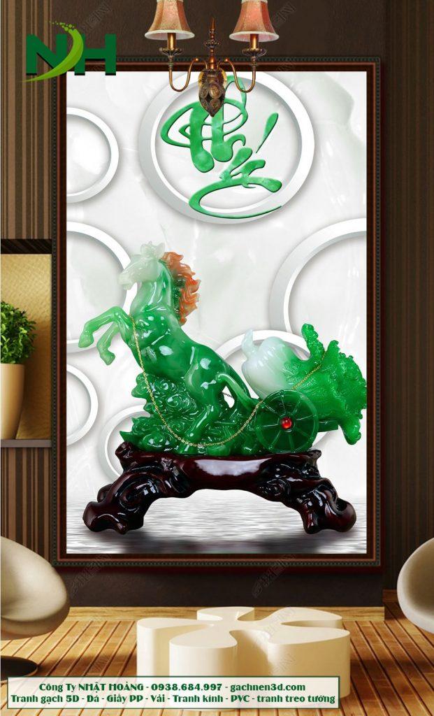 tranh gạch ngựa kéo bắp cải